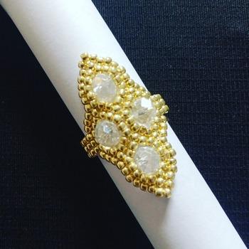 Handmade Honeycomb Gold Crystal Glass Ring Jewellery