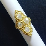 Handmade Honeycomb Gold Crystal Glass Ring Jewellery