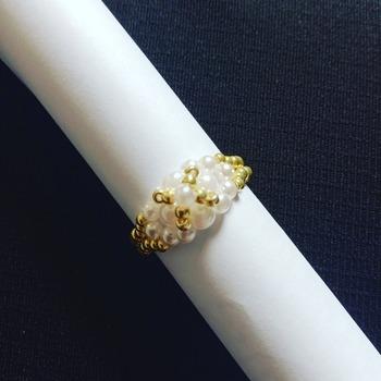Handmade Tiny White Pearl Gold Ring Jewellery