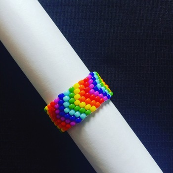 Handmade V Shape Rainbow Ring Jewellery