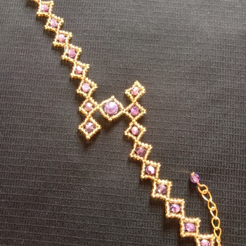Handmade Zigzag Diamond Shape Purple Gold Bracelet Jewellery
