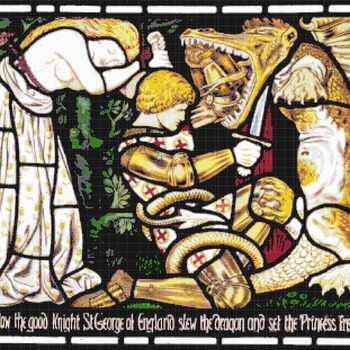 counted cross stitch pattern saint george church stained 358*311 stitches CH2137