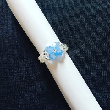 Handmade Blue Crystal Glass Ring Jewellery