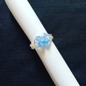 Handmade Blue Crystal Glass Ring Jewellery