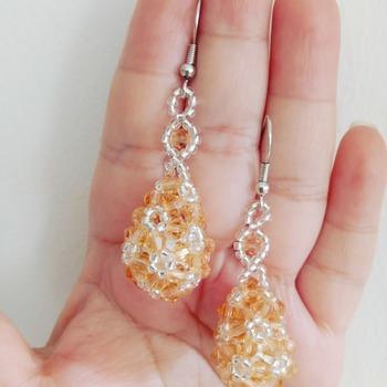 Handmade Champagne Teardrop Earrings Jewellery