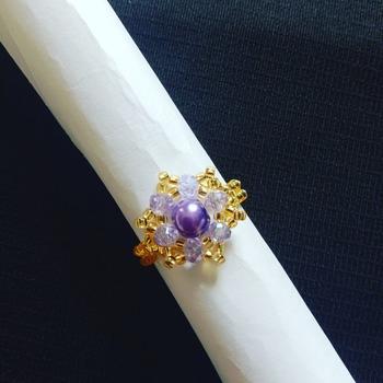 Handmade Purple Pearl Crystal Ring Jewellery