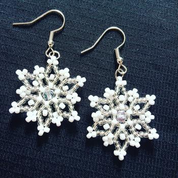 Handmade Tiny Snowflake Earrings Jewellery