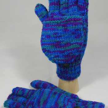 Knitted Blue, Green And Purple Random Coloured Convertible Gloves - FREE SHIPPING