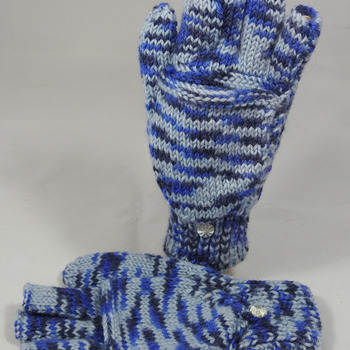 Knitted Blue Random Coloured Convertible Gloves - FREE SHIPPING