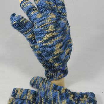 Knitted Blues And brown Random Convertible Gloves - FREE SHIPPING