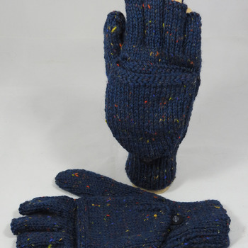 Knitted Dark Blue With Flecks Of Colour Convertible Gloves - FREE SHIPPING