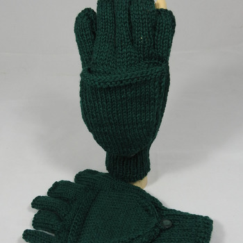 Knitted Emerald Green Plain Convertible Gloves - Free Shipping