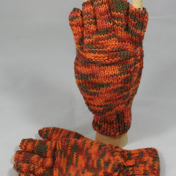 Knitted Orange And Green Random Coloured Convertible Gloves - FREE SHIPPING