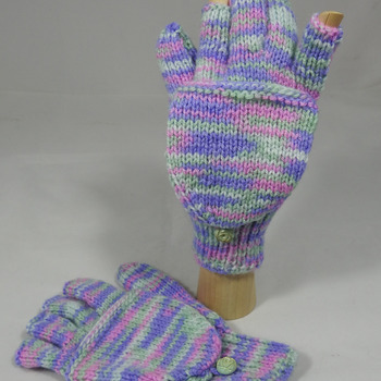 Knitted Pink, Purple And Green Random Coloured Convertible Gloves - FREE SHIPPING