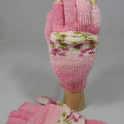 Knitted Pink With Bands Of Pink And Green On A White Background Convertible Gloves - FREE SHIPPING