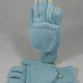 Knitted Plain Light Blue Convertible Gloves - FREE SHIPPING