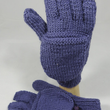 Knitted Plain Purple Convertible Gloves - FREE SHIPPING