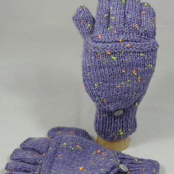 Knitted Purple With Flecks Of Colours Convertible Gloves - FREE SHIPPING
