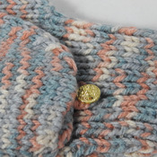 Knitted Random Blue, Peach and Cream Convertible Gloves - FREE SHIPPING