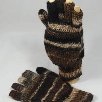 Knitted Random Browns, Silver And Grey Convertible Gloves - FREE SHIPPING
