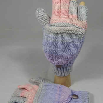 Knitted Random Pink,Purple And Grey Women's Convertible Gloves - FREE SHIPPING