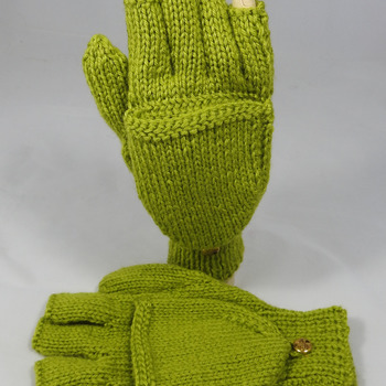 Knitted Women's Plain Lime Green Convertible Gloves - FREE SHIPPING