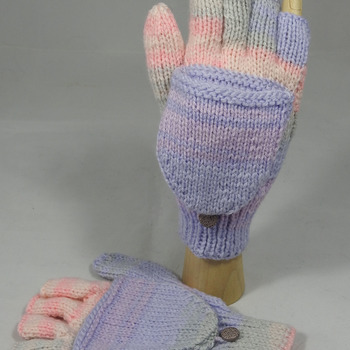 Women's Knitted Pink, Purple And Grey Random Convertible Gloves - FREE SHIPPING