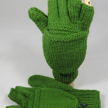 Women's Knitted Plain Green Convertible Gloves - FREE SHIPPING