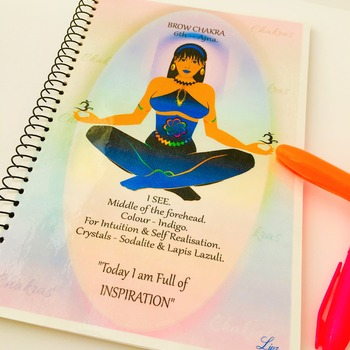 BROW CHAKRA - Indigo - Journal / Notebook Gift Set with Information, Affirmation & FREE Matching Bookmark - Anja - Spiritual Artwork by Livz