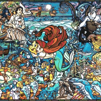 counted cross stitch pattern princess ariel watercolor 487x334 stitches CH2276