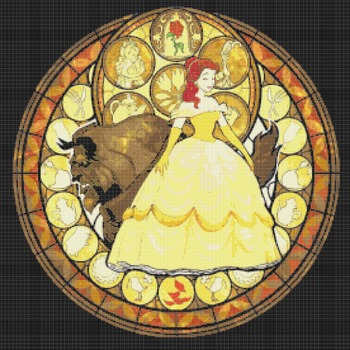 counted cross stitch pattern Beauty beast stained glass 276*276 stitches CH784