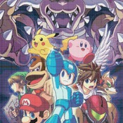 counted cross stitch pattern Super Smash Bros mega man  241*355 stitches CH856