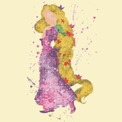 counted cross stitch pattern princess rapunzel watercolor 121*203 stitches CH1872