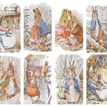 counted cross stitch pattern eight scene bunny B. Potter 322x268 stitches CH943