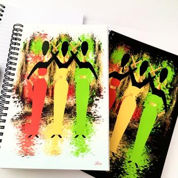 Ethnic Shimmer - A5 Notebook. White background. Original artwork by Livz.