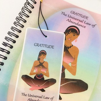 GRATITUDE JOURNAL / Notebook Gift Set with Affirmation, FREE Matching Bookmark & 2021 Calendar. The Law of Attraction. Spiritual Art by Livz