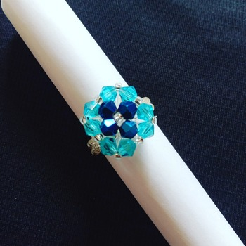 Handmade Blue Crystal Square Ring Jewellery