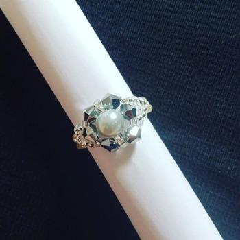 Handmade Grey Pearl Silver Crystal Ring Jewellery
