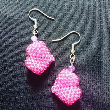 Handmade Pink Seed Beads Heart Shape Earrings Jewellery