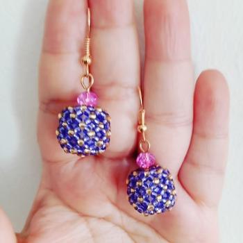 Handmade Purple Golden Diamond Shape Beaded Ball Earrings Jewellery