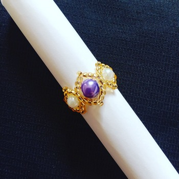 Handmade Purple White Pearl Gold Ring Jewellery