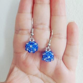 Handmade Tiny Blue Beaded Ball Earrings Jewellery