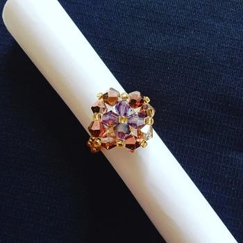 Handmade Violet Copper Diamond Shape Ring Jewellery