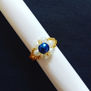 Handmade White Blue Pearl Gold Ring Jewellery