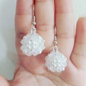 Handmade White Pearl Beaded Ball Earrings Jewellery