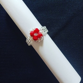 Handmade White Pearl Red Crystal Square Ring Jewellery