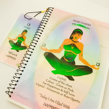 HEART CHAKRA - Green - Journal / Notebook Gift Set with Affirmation & FREE Matching Bookmark - Anahata - Spiritual Artwork by Livz