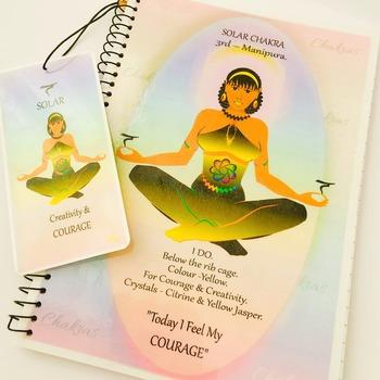 SOLAR CHAKRA - Yellow - Journal / Notebook Gift Set with Affirmation & FREE Matching Bookmark - Manipura - Original Spiritual Artwork.