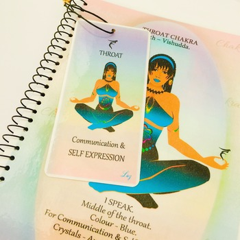 THROAT CHAKRA - Blue - Journal / Notebook Gift Set. Throat Chakra Affirmation, Information & FREE Matching Bookmark - Vishudda Artwork.