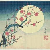 Counted Cross Stitch Kanagawa Hokusai blossom with flower 248*189stitches CH1531